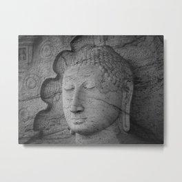 Seated Buddha statue in dhyana mudra pose at Gal Viharaya Metal Print