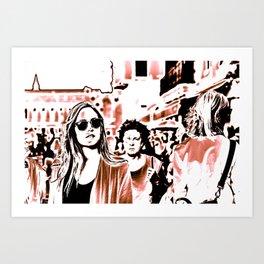 Strangers' gathering, street photography, print, wall art, urban, graphic, poster, Venice Art Print