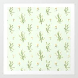 Ivory pastel green orange watercolor floral illustration Art Print