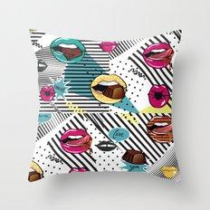 Pop Lips Throw Pillow