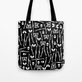 Skeleton Pattern on Black Background Tote Bag