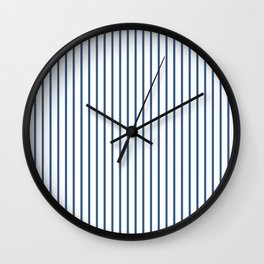 Iris Blue Pinstripe On White Wall Clock