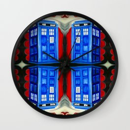 British Blue Police Public Call Box - 1111 Mirror Wall Clock