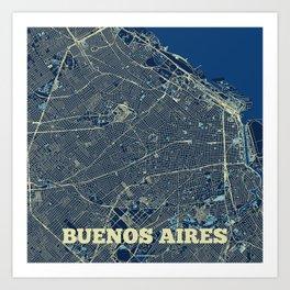 Buenos Aires Street Map Art Print