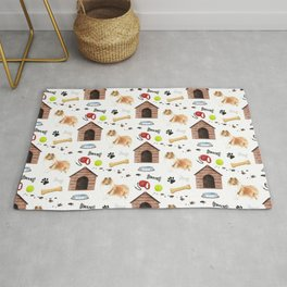 Rough Collie Dog Half Drop Repeat Pattern Rug