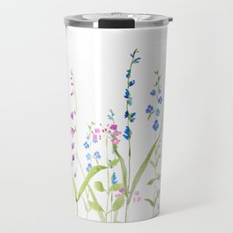 purple blue wild flowers watercolor painting Travel Mug