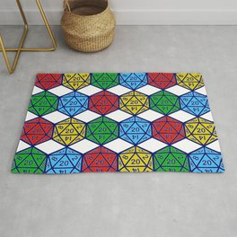 d20 20 sided dice pattern Rug