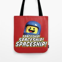 spaceship Tote Bags featuring Spaceship! by D-fens