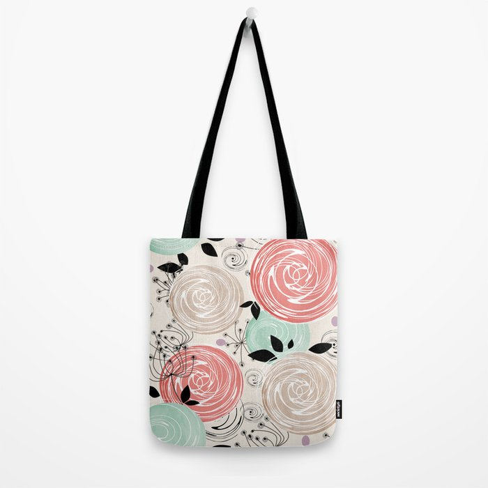 Retro . Abstract floral pattern. f Tote Bag