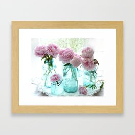 Shabby Cottage Pink Peonies Vintage Jars Framed Art Print