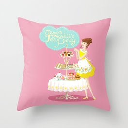 Miss Norbitt's Tea Party Throw Pillow