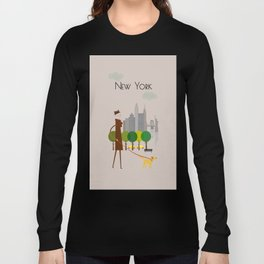 New York - In the City - Retro Travel Poster Design Long Sleeve T-shirt