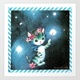 Space Witch Cat handcut collage Art Print