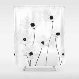 black and white cosmos Shower Curtain