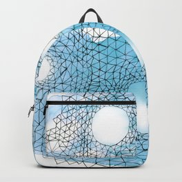 Abstract Web on Blue Watercolor Backpack