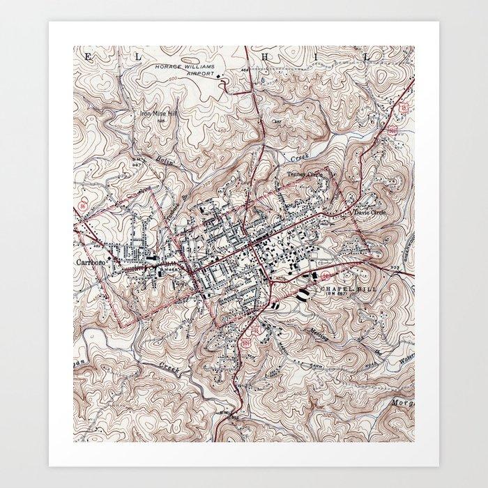 Vintage Map of Chapel Hill North Carolina (1946) Art Print by bravuramedia