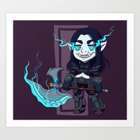 warcraft Art Prints featuring littlest death knight by fitze fitcher
