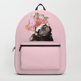 Sloth with Flower Crown Backpack