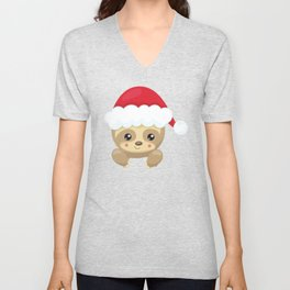 Christmas Sloth, Sloth With Santa Hat, Cute Sloth Unisex V-Neck