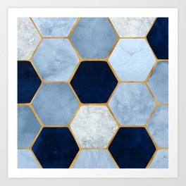 Deco Blue Marble II with Metallic Gold Accents Kunstdrucke