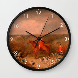 Hunting With Dogs and Horse Famous Oil Painting Wall Clock