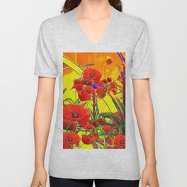 MODERN TROPICAL FLOWERS GARDEN DESIGN IN YELLOW-ORANGE COLORS Unisex V-Neck