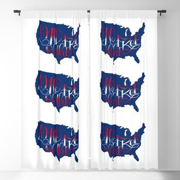 Land of the Free, USA, 4th of July BLUE Blackout Curtain