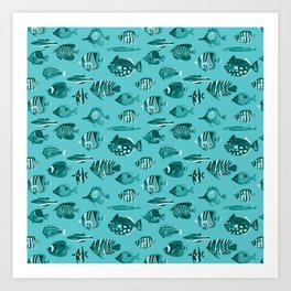 School of Tropical Fish Blue Art Print