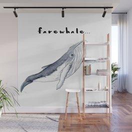 Farewhale Humour Whale Farewell Goobye design Wall Mural