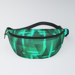 Bright azure green highlights on triangles and stripes of metal. Fanny Pack