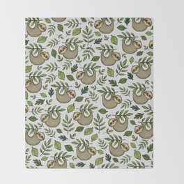 Little Sloth Hanging Around, Cute Sloth Print, Gray and Green, Hand-Drawn Sloth Throw Blanket