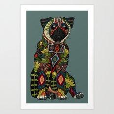 pug love juniper Art Print