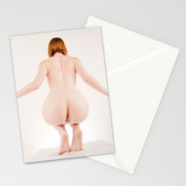 8614s-MM Perched on Her Toes Red Hair Model Megan Nude from Behind Stationery Cards