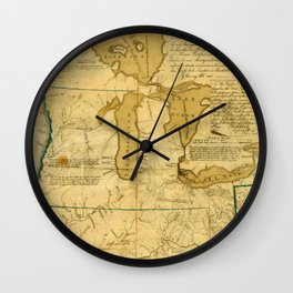Map Of Great Lakes 1785 Wall Clock