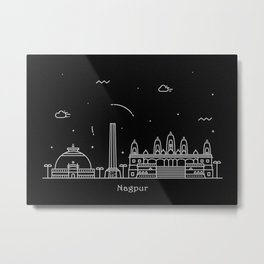 Nagpur Minimal Nightscape / Skyline Drawing Metal Print