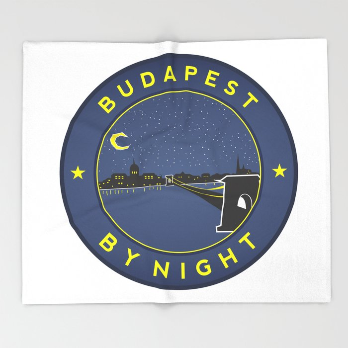 Budapest By Night, circle with frame Throw Blanket