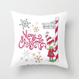Merry Christmas Elf Throw Pillow