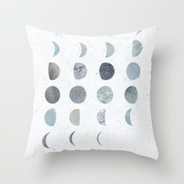 MOON PHASE - PRINTED MOON ILLUSTRATION Throw Pillow