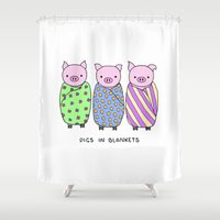 blankets Shower Curtains featuring Pigs in Blankets by Charlotte Lucy