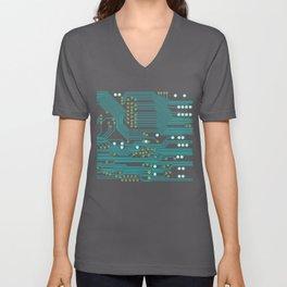 Dark Circuit Board Unisex V-Neck