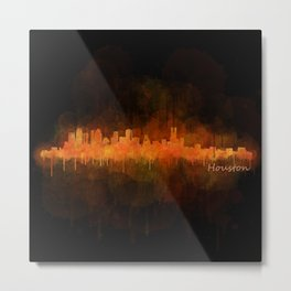 Houston City Skyline Hq v4 DARK Metal Print