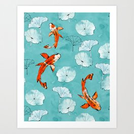 Waterlily koi in turquoise Art Print