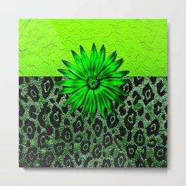 Animal Print Green Medallion Abstract Metal Print