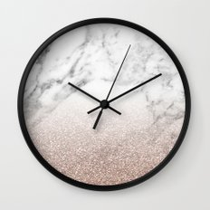 Marble sparkle rose gold Wall Clock