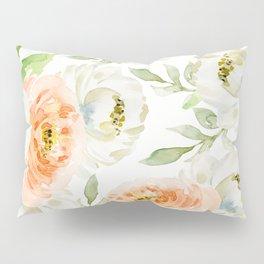 Big Peach and White Flowers Pillow Sham
