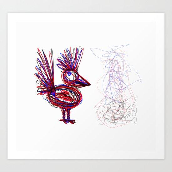 Chicken Shadow Art Print