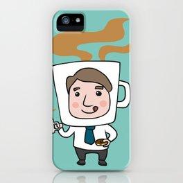 man coffee cup head iPhone Case