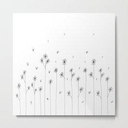 Simple Garden Doodle Art Metal Print