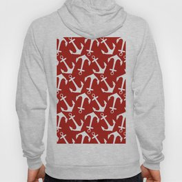Maritime Nautical Red and White Anchor Pattern - Anchors Hoody