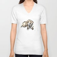 badger V-neck T-shirts featuring Badger by Jen Moules
